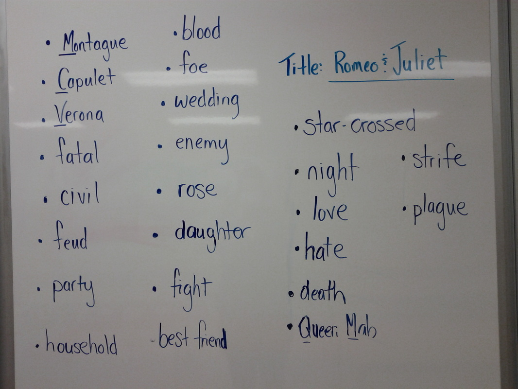 "... Juliet ""Word Wall"" used for completing the Probable Passage worksheet"